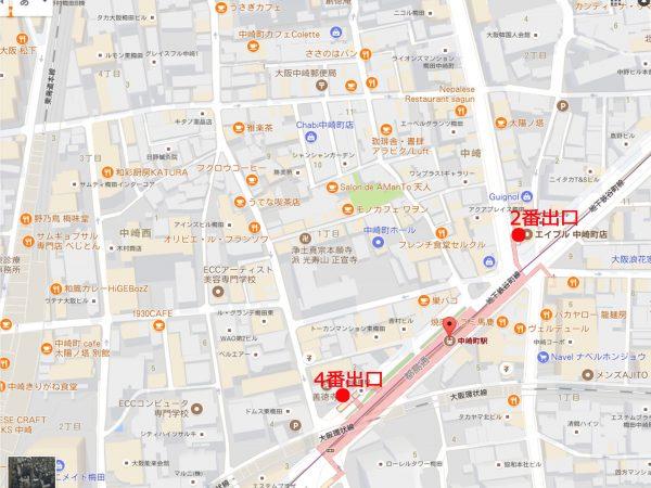 中崎町マップ