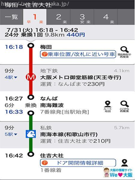 梅田→住吉大社