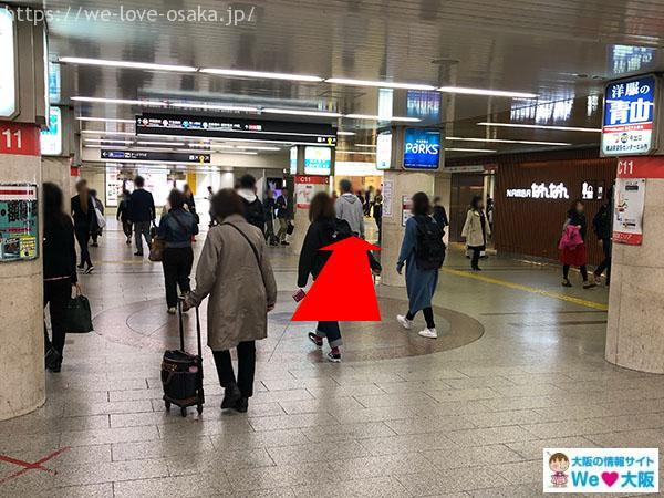 大阪メトロなんば駅 南南改札 左側