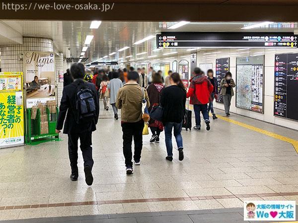 大阪メトロなんば駅 中改札 左側
