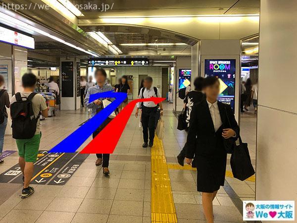 大阪メトロ御堂筋線梅田駅 中南改札からJR大阪駅へ